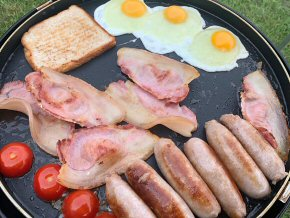 Breakfast at the Caravan Site with home produce